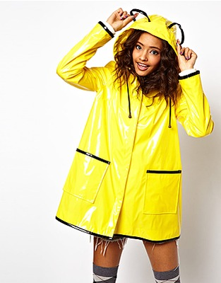 yellow rain mac asos